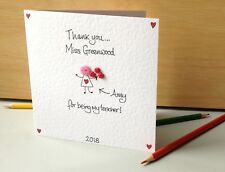 Personalised Handmade button Thank You Nursery or School Teacher Card from girl