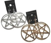 LARGE PENTAGRAM HOOP EARRINGS wiccan pagan pentacle magic goth witch new 6E