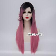 65CM Black Mixed Pink Straight Hair Lolita Daily Party Harajuku Cosplay Wig