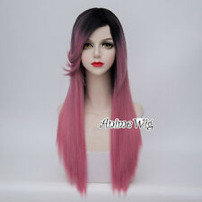 Lolita Daily 65CM Black Mixed Pink Straight Fancy Party Harajuku Cosplay Wig