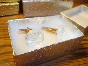 #1 Pair (2) Clear STAR BURST Design Hamilton Gold Plated Cuff links w/Gift Box