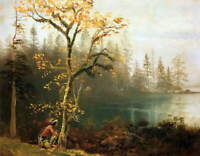 Albert Bierstadt Indian Scout Painting Giclee Fine Art Print on Canvas Small