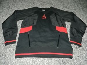 NIKE AIR JORDAN AIR CREW NECK SWEATSHIRT 2 POCKET JUMPMAN 23 BLACK & RED YOUTH L