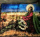 Vintage Velvet Tapestry! Man praying with folded hands & Halo! Made in Lebanon
