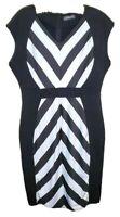 Amika Fashion Dress Womens Bodycon Plus 2X Black White Diagonal Design XXL