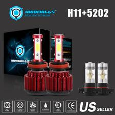 4-Side H11 LED Headlight Low Beam 5202/H16 Fog for GMC Sierra 1500 2500 HD 07-13