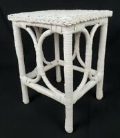 Vintage French Country Wicker Rattan Accent Table Plant Stand Shabby Chic