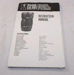 Kodak Lente 80-210mm Zoom Manual Instrucciones (En ) 6103071
