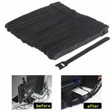 50Pcs Reusable Black Cable Cord Nylon Strap Hook Loop Ties Tidy Organiser Tool