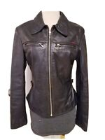 VINTAGE GUESS WOMAN GENUINE LEATHER MOTORCYCLE JACKET BLACK LEATHER SIZE SMALL
