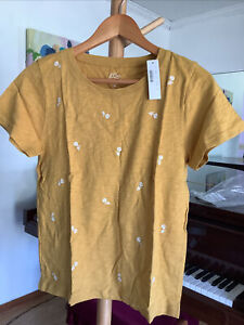 NWT J Crew Women's Yellow Floral embroidered T-shirt AS064 Size Medium $49