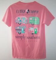 Simply Southern Women's S Tee~Classy Camper~Pink Graphic Short Sleeve T-Shirt