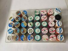 Lot Of 38 Vintage Thread Spools Talon, Dual Duty, Clark's Sewing with Case