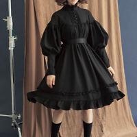 Vintage Gothic Lolita Dress Women Loose Puff Sleeve Pure Color Princess Dresses