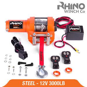12v Electric Winch, 3000lb Heavy Duty, ATV, Trailer, Boat 4x4 Recovery ~ RHINO