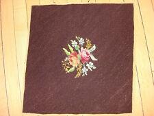 """Vintage WORKED NEEDLEPOINT PIECE Floral on Dark Brown 17""""x17.5"""" #5"""