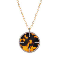 "NEW Faux Tortoise Shell Pendant Necklace Pave Crystal  29.5"" Gold Tone Chain"