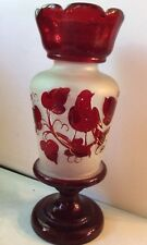 Vintage Bohemian Czech Ruby Red Hand Blown Art Glass Etched Vase Bird