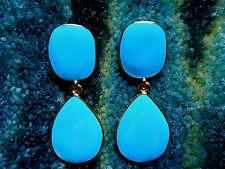 Kenneth Jay Lane Gold Turquoise Blue Enamel Clip Earrings