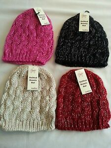 LADIES GIRLS  CHUNKY CABLE KNIT BEANIE SKI WINTER FASHION HAT