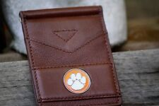 Clemson Leather Wallet with Orange and White Logo - Brown Wallet