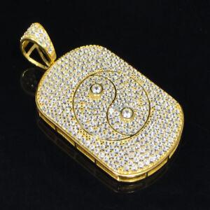Men's 14k Yellow Gold Finish Ying Yang Dog Tag Charm Pendant 925 Sterling Silver