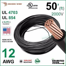 50FT - 12 AWG Encore Solar PV Wire 2000V Cable UL 4703 Copper, USA