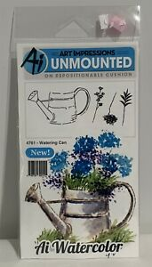 Art Impressions WATERING CAN Flowers Garden Watercolor Rubber Stamps Set