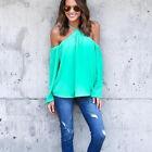 Women Cold Shoulder Long Sleeve Tops Tee Shirt Casual Loose T-shirt Tunic Blouse
