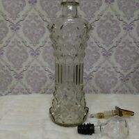 """Vintage Glass Decanter With Stopper Pouring Spout Mid Century Barware Tall 13"""""""