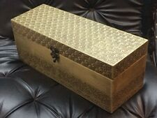 Decorative Wine Box Wood covered with intricately designed Brass sheet.