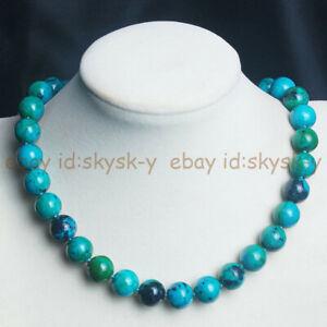 "6/8/10/12mm Green Azurite Chrysocolla Round Gemstone Beads Necklace 18"""