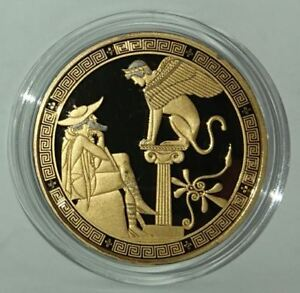 NIUE 2016 5$ GREEK MYTHS Oedipus and Sphinx 2 oz Silver Coin Rhodium-Gold Plated