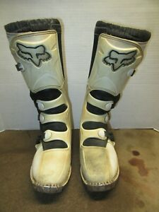 Fox Racing Tracker Motorcycle Riding Boots Size 9 White Motocross Dirt Bike