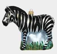 Zebra Polish Mouth Blown Glass Christmas Ornament African Wildlife Decoration