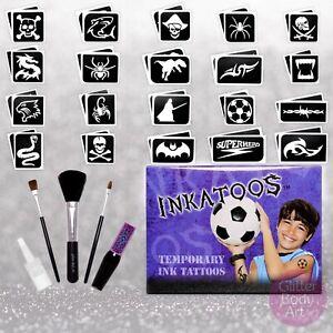 Boys Ink Temporary Tattoo Set - Black Stencil Designs, Realistic Tattoo, Pirate