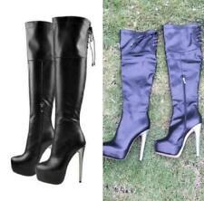 US 4.5-15 Women Gladiator High Heel Round Toe Platform Over Knee High Punk Boots