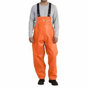 New Mens BIG Orange Waterproof Carhartt Belfast PVC Rain Bib Overalls Sz 3XL