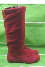 NEW LADIES Womens burgundy  Flat Slouch  Round Toe Knee Boots Size 7.5