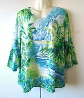 WOMEN'S ALFRED DUNNER EMBELLISHED SAILBOAT TROPICAL TOP WITH CHIFFON HEM SIZE L