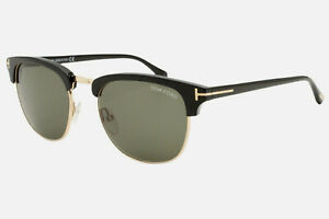 New Authentic Tom Ford Henry 248 05N Black Gold Men's Sunglasses 53-20-145 WCase