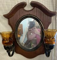VTG SYROCO Dart HOMCO 2391 WALL HANGING OVAL MIRROR  2 Arm Wall Sconce