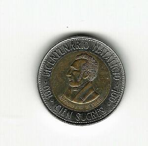 World Coins - Ecuador 100 Sucres 1995 Bimetallic Commemorative Coin KM#96 Lot-E4
