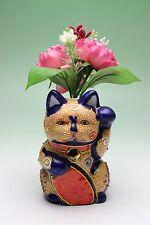 Beaded Maneki Neko Bud Vase Lucky Beckoning Cat Raised Porcelain Pen Holder New