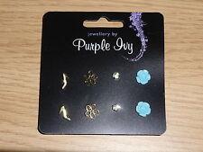 Flower Shoe Earrings Purple Ivy Ear Studs Fashion Women Jewellery Ladies Stud