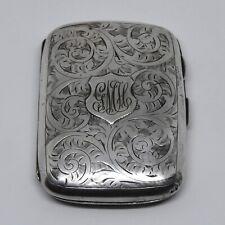Beautiful Solid Silver Edwardian Cigarette Case Birmingham 1902 Henry Matthews