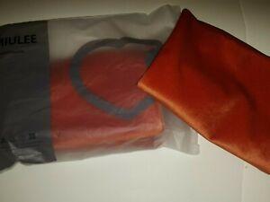 MIULEE Velvet Soft Solid Decorative Square 2 Throw Pillow Covers Rust/Orange