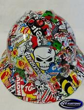 New Custom MSA V-Gard (Full Brim) Hard Hat W/FasTrac Racing Stickerbomb Pattern