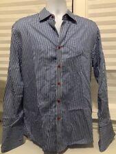 H&M Mens Blue/white Stripe W/Red Button Up Shirt Sz 16&1/2. Excellent Cndn A4