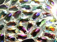 40 AB Coated Acrylic Rhinestone Gems Teardrops/Pear Shape 9x17 mm Flatback Sewon